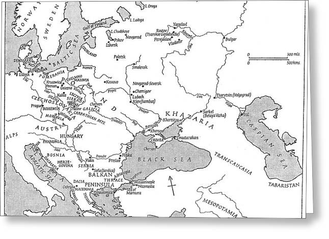 Slavic Population Map Greeting Card by Granger
