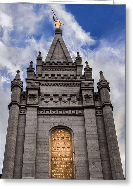Slc Gray Blue Gold Temple2 Greeting Card by La Rae  Roberts