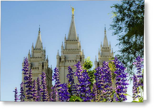 Slc Temple Blue Flowers Greeting Card by La Rae  Roberts