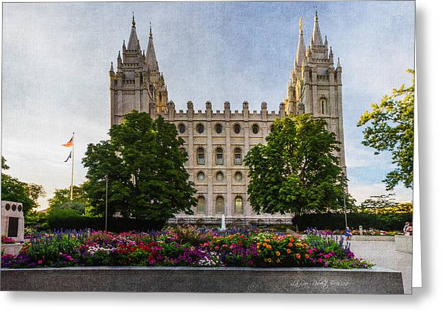Slc Temple Canvas Flower Box Greeting Card by La Rae  Roberts