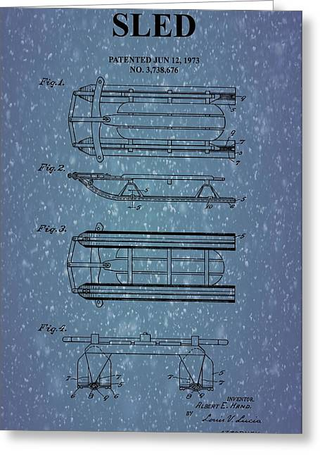 Sled Patent On Snow Greeting Card