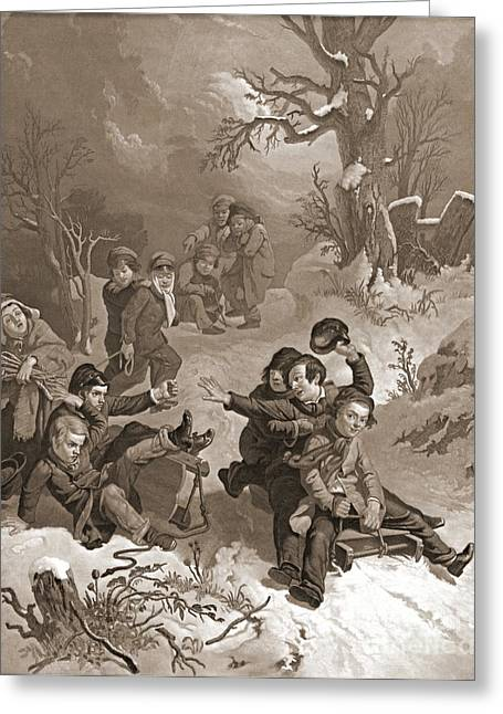 Sledding 1854 Greeting Card by Padre Art