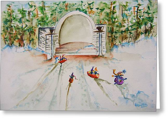 Sledding At Devou Park Greeting Card