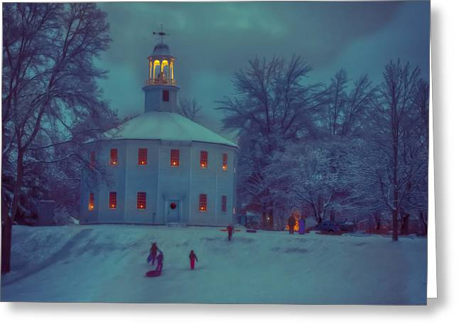 Sledding At The Old Round Church Greeting Card