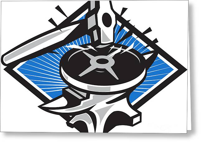 Sledgehammer Striking 45lb Weight Anvil Retro Greeting Card by Aloysius Patrimonio