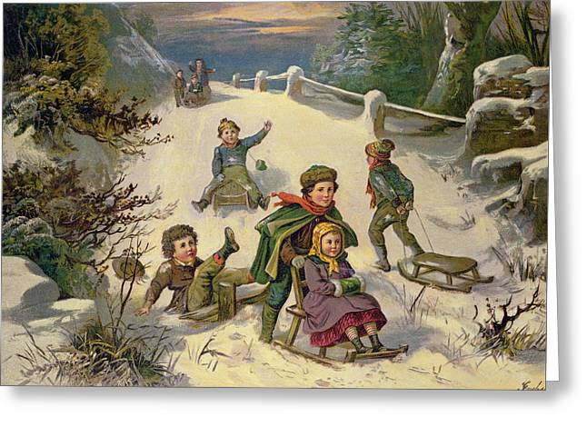 Sledging And Snowballing, 19th Century Greeting Card