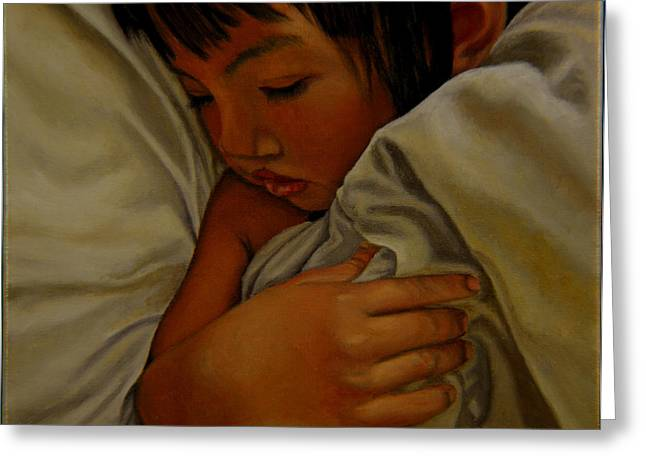 Greeting Card featuring the painting Sleep by Thu Nguyen