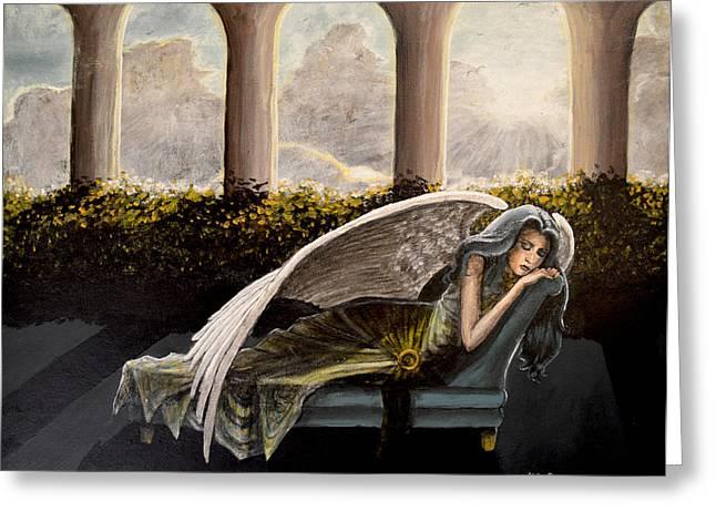 Sleeping Angel Greeting Card by Molly Prince