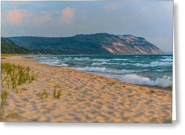 Sleeping Bear Dunes At Sunset Greeting Card