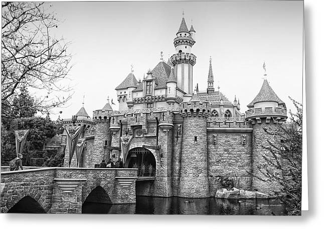 Sleeping Beauty Castle Disneyland Side View Bw Greeting Card by Thomas Woolworth