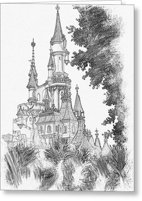 Sleeping Beauty Castle Greeting Card by Roger Lighterness