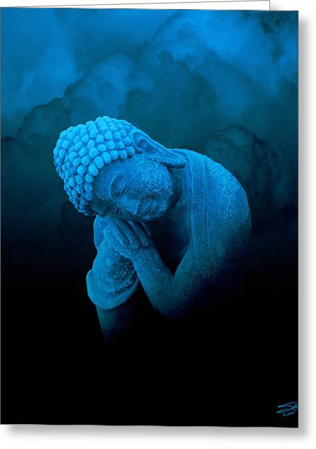 Sleeping Blue Buddha Greeting Card by IM Spadecaller