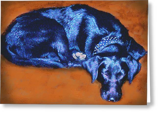 Sleeping Blue Dog Labrador Retriever Greeting Card by Ann Powell