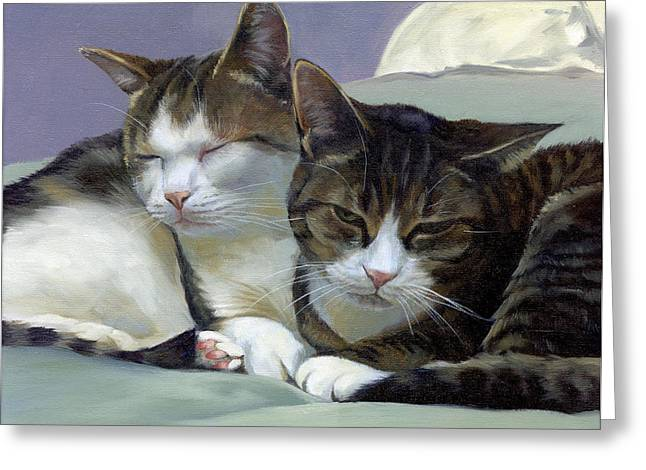 Sleeping Buddies Greeting Card by Alecia Underhill