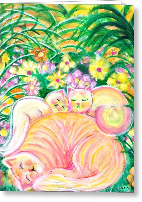 Greeting Card featuring the painting Sleeping Cats by Anya Heller