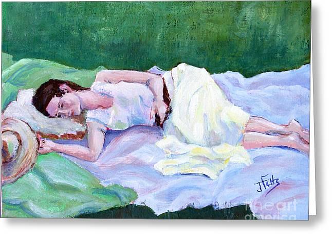 Sleeping Girl Greeting Card by Janet Felts