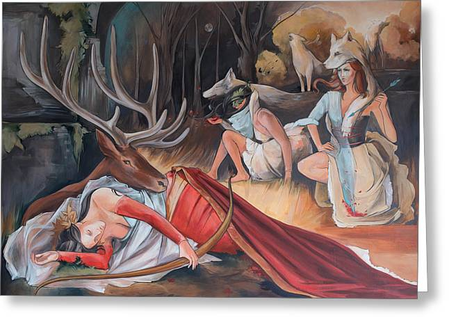 Sleeping Huntress Loses Her Quarry Greeting Card