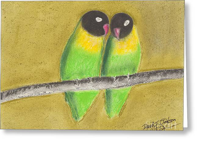 Sleeping Love Birds Greeting Card by David Jackson