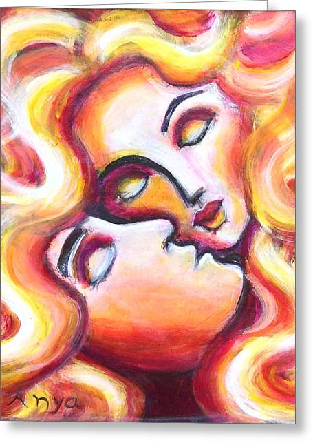 Greeting Card featuring the painting Sleeping Lovers by Anya Heller