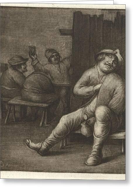 Sleeping Man In A Tavern, Jacob Hoolaart Greeting Card by Jacob Hoolaart