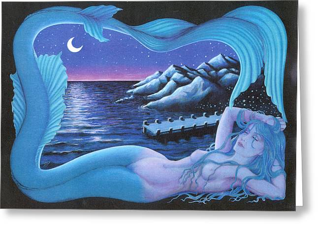 Sleeping Mermaid Greeting Card by Bobby Beausoleil