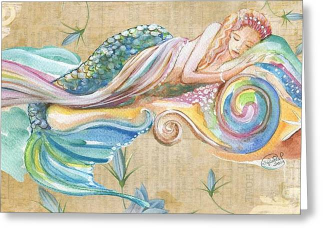 Sleeping Mermaid Greeting Card by Sylvia Pimental