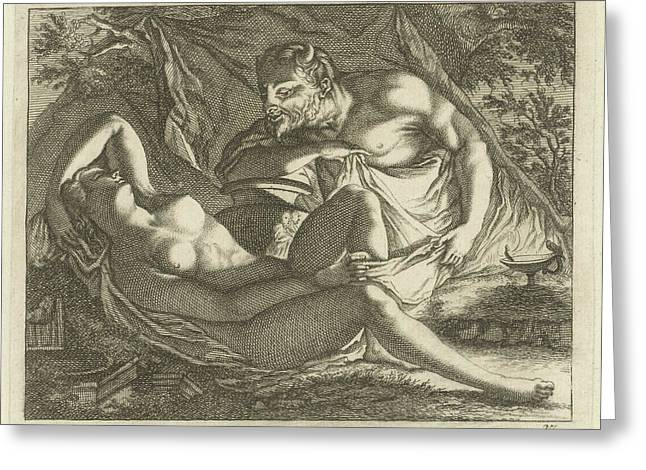Sleeping Nymph Watched By A Satyr, Arnold Houbraken Greeting Card by Arnold Houbraken