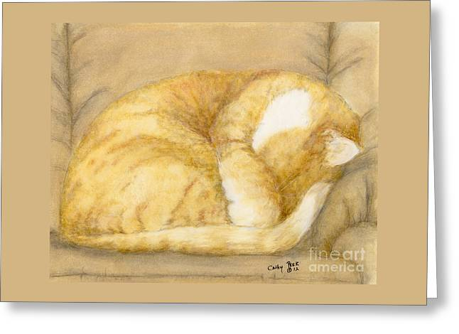 Sleeping Orange Tabby Cat Feline Animal Art Pets Greeting Card by Cathy Peek