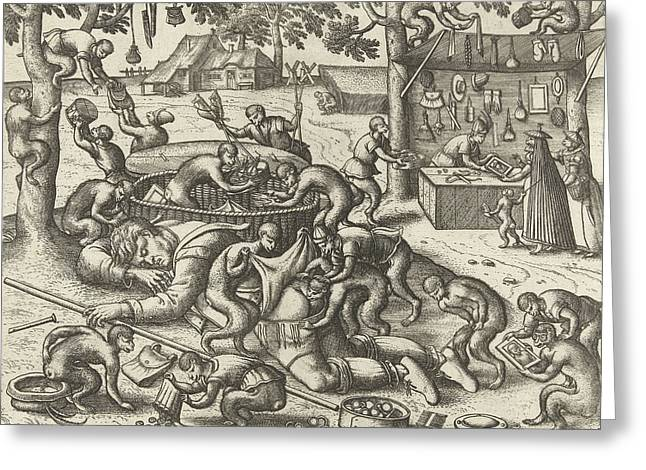 Sleeping Peddler Robbed By Monkeys, Pieter Van Der Borcht Greeting Card