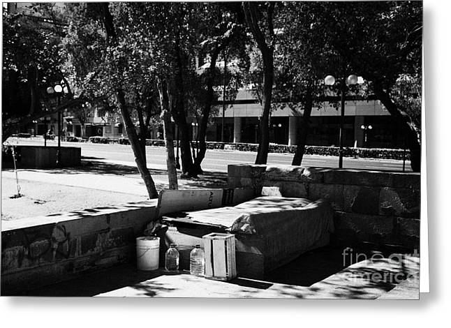 sleeping rough on the streets of affluent providencia Santiago Chile Greeting Card by Joe Fox