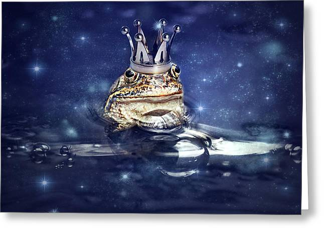 Sleepless Frog Prince Greeting Card