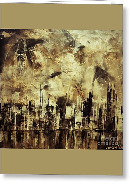 Sleepless Skyline Greeting Card by Kusum Vij