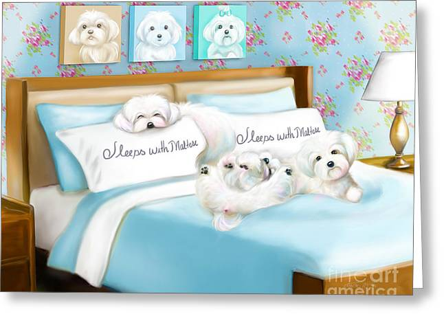 Sleeps With Maltese Greeting Card