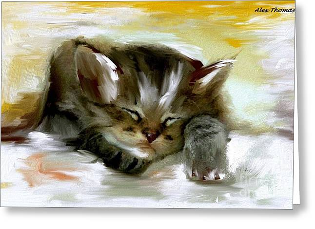 Sleepy Kittie  Greeting Card by Alex Thomas
