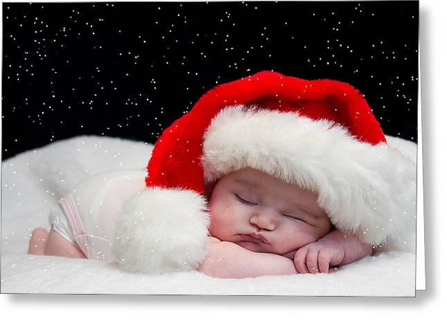 Sleepy Santa Baby Greeting Card by Trudy Wilkerson