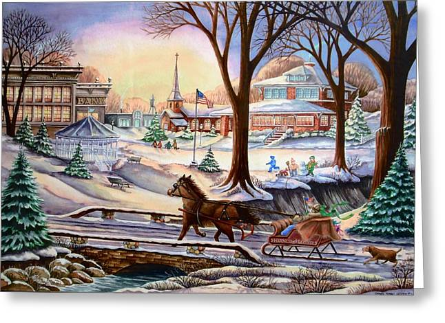 Sleigh Chase Greeting Card by Carol Sabo