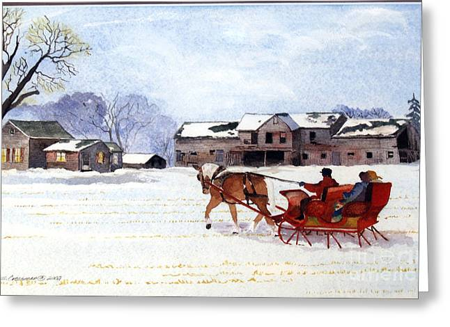Sleigh Ride Greeting Card by Susan Crossman Buscho