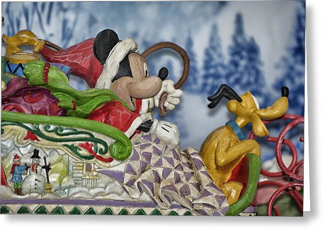 Sleigh Riding Greeting Card by Thomas Woolworth