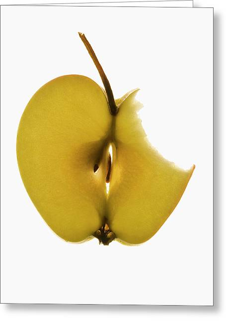 Slice Of Apple With Stalk, A Bite Taken Greeting Card