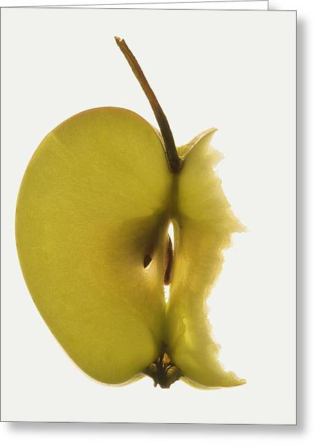 Slice Of Apple With Stalk, Bites Taken Greeting Card