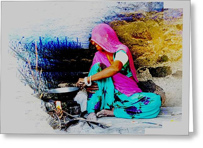 Slice Of Life Mud Oven Chulha Tandoor Indian Village Rajasthani 2 Greeting Card