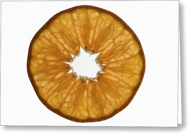 Slice Of Mandarin, Backlit Greeting Card