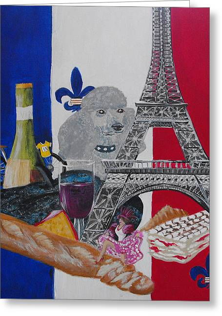 Slice Of Paris Greeting Card by Susan Bruner