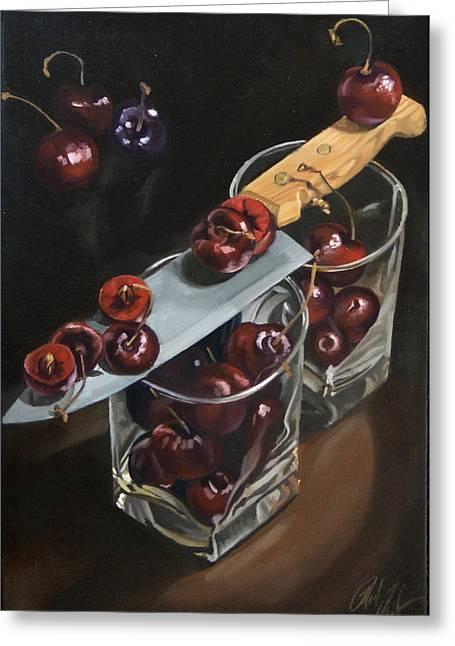 Sliced Black Cherries Greeting Card