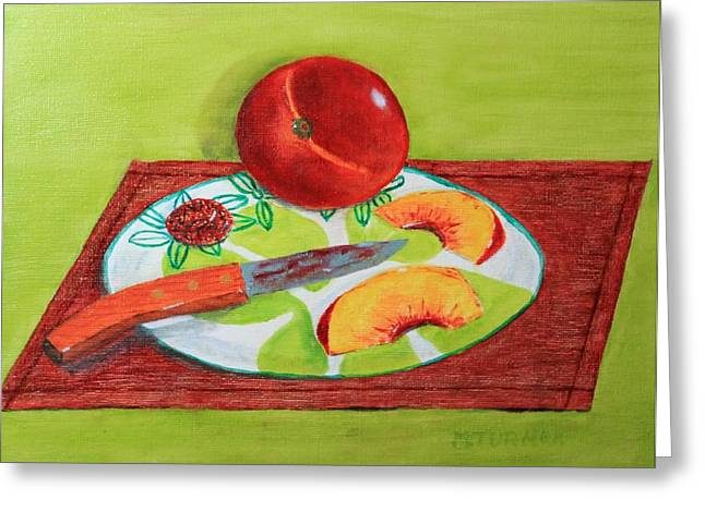 Sliced Peach Greeting Card by Melvin Turner