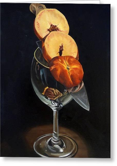 Sliced Peach Greeting Card