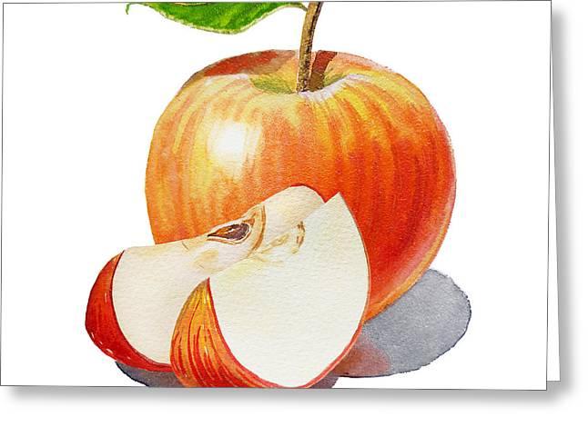 Sliced Red Apple  Greeting Card by Irina Sztukowski