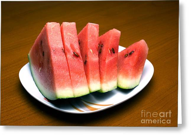 Sliced Watermelon Greeting Card by Sinisa Botas