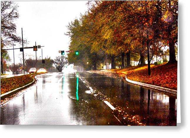 Greeting Card featuring the photograph Slick Streets Rainy View by Lesa Fine