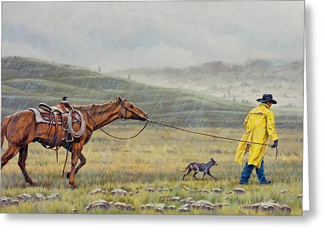 Slicker Weather Greeting Card by Paul Krapf